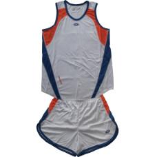 Баскетболен екип, бяло с оранжево и синьо