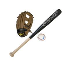 Бейзболен комплект SPARTAN Junior, бухалка, ръкавица и топка