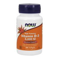 Витамин D-3 / 5000IU / NOW, 240 гел капсули